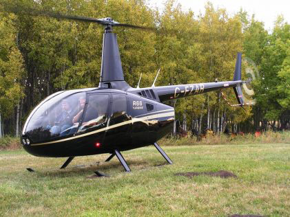 R66 helicopter in backyard