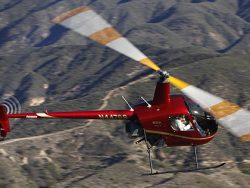 R22 helicopter in flight